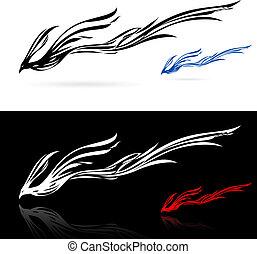 Phoenix icons - Set of phoenix icons. Illustration on white...