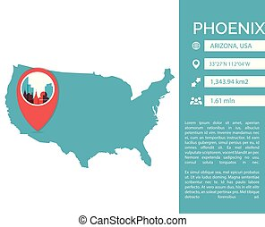 Phoenix map infographic vector illustration