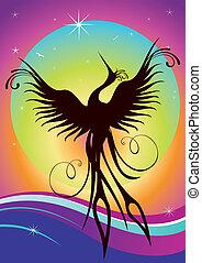 phoenix, pássaro, silueta, re-birth