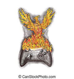 Phoenix Rising Over Game Controller Tattoo