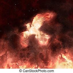 Phoenix rising - Mythical firebird Phoenix is rising from...