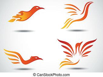 phoenix, set, uccello, collezione, icona