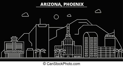 Phoenix silhouette skyline. USA - Phoenix vector city, american linear architecture, buildings. Phoenix travel illustration, outline landmarks. USA flat icons, american line banner