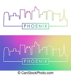 Phoenix skyline. Colorful linear style.