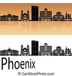 Phoenix skyline in orange