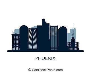 Phoenix skyline, monochrome silhouette.