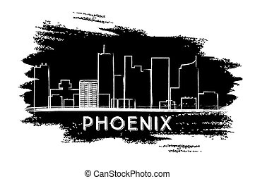 Phoenix Skyline Silhouette. Hand Drawn Sketch.