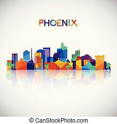Phoenix skyline silhouette in colorful geometric style.