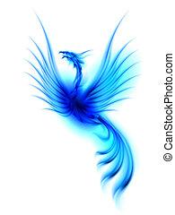 Phoenix - Raster version. Burning blue phoenix isolated over...