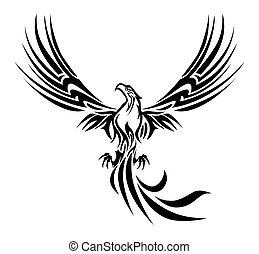 phoenix tattoo - illustrations of a concept myth bird...