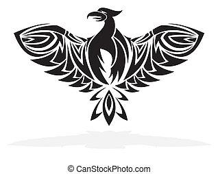 phoenix, uccello, -, vettore, illustrazione