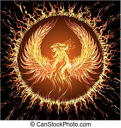 Phoenix in circular frame. Illustration in fantasy style.