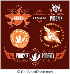 Phoenix - vector set of fire birds and flames logo.