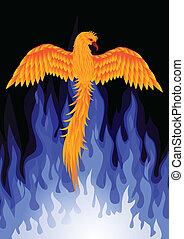 phoenix, vogel, mit, blaue flamme