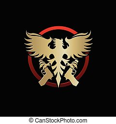 Phoenix with pistols emblem vector