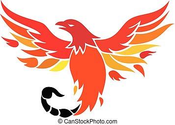Phoenix With Scorpion Tail Icon - Icon retro style...