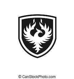 Phoenix with shield Vector Logo Template