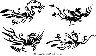 phoenixes, asian/chinese, vier