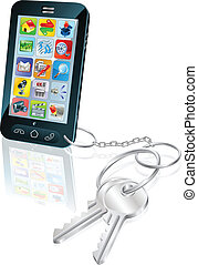 Phone access security keys concept illustration -...