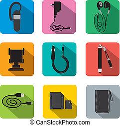 phone accessories flat icon set