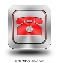 Phone aluminum glossy icon, button, sign