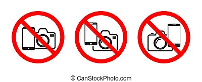 No phone, no camera sign on white background.