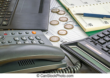 Phone and computer - Working environment in the business office