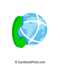 Phone and globe icon, isometric 3d style