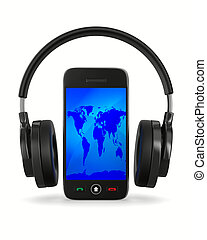 phone and headphone on white background. Isolated 3D image