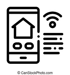 Phone and Internet Icon Vector Outline Illustration