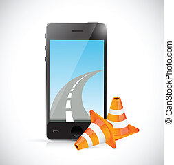 phone and internet road illustration design