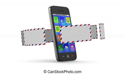 phone and mail on white background. 3D render