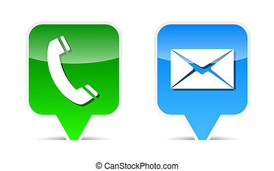 Phone and mail web design elements. Vector illustration