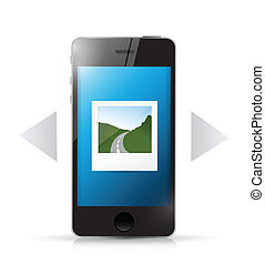 phone and photo gallery illustration design