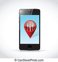 phone and restaurant locator pointer