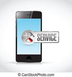 phone and service sign illustration design