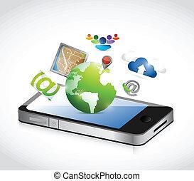 phone and set of apps illustration design