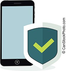 Phone and shield with a confirmed status of protection