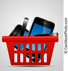 Phone and shopping basket vector illustration