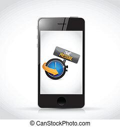 phone and time pressure sign illustration design