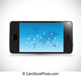phone and world travel destinations concept. illustration...