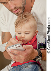 Phone Baby Interest Technology Father Showing