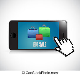 Phone Big sale shopping bags icon concept