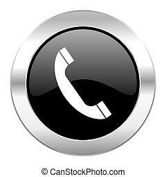 phone black circle glossy chrome icon isolated