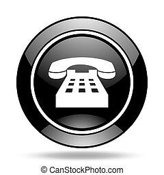 phone black glossy icon