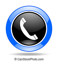 phone blue and black web glossy round icon