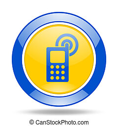 phone blue and yellow web glossy round icon