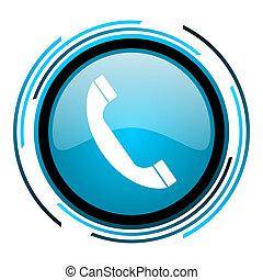 phone blue circle glossy icon