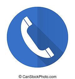phone blue web flat design icon on white background