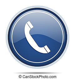 Phone blue round web icon. Circle isolated internet button for webdesign and smartphone applications.